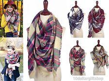 Women's Oversized Blanket Tartan Wrap Scarf XL Square Shawl Plaid Pashmina