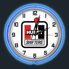 "19"" Hurst Shifters Sign Blue Double Neon Clock Chrome Case"