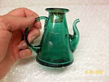 "Vintage 3 1/3"" Green Glass Mini Teapot Creamer 1930's to 1950's well made thick"