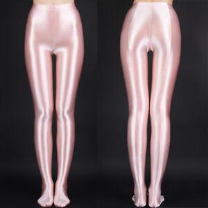 Plus Size Satin High Gloss Opaque Silky Pantyhose Shiny Bodycon Tights Stockings