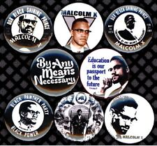 Malcolm X 8 NEW 1 inch pins button badge panthers Black By any means necessary 2