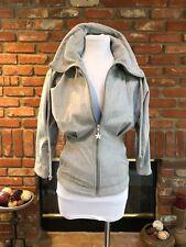 Sexy KIRA PLASTININA sz XXS Gray Fitted Pleated Waist Sweatshirt Zipper Jacket