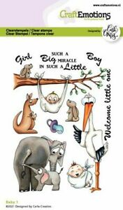 Motiv-Stempel Clear stamp Baby Geburt Storch Elefant CraftEmotions 130501/1513