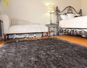 60 x 72 Rustic Black Tip Gray Raccoon Furs Area Rug Rectangle Lodge Cabin Decors