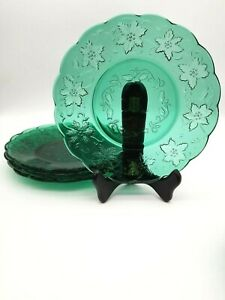 Princess House Fantasia Green Lunch Plates 8 inch Set of 4