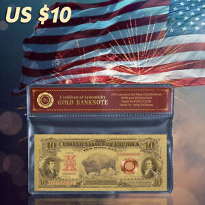 WR 1901 $10 Dollar Bill Legal Tender Bison Note 24K Gold Foil US Banknote /w CAO