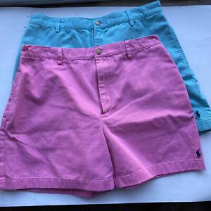 Ralph Lauren Polo Sport Vtg Shorts lot of 2 High Waist Pink Turqoise Teal Sz 12