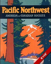 VINTAGE PACIFIC NORTHWEST REDWOOD TREES TRAVEL AD POSTER ART REAL CANVAS PRINT