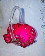BEAUTIFUL VINTAGE HAND-BLOWN CRANBERRY BASKET  WITH CRYSTAL HANDLE