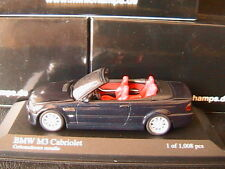 BMW M3 CABRIOLET 2001 BLACK METALLIC MINICHAMPS 431020032 1/43 CARBONSCHWARZ