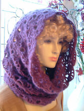 Clover / Heather Lacy Crochet Snood /Cowl Luxury Angora & Merino Wool - Handmade