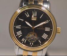 New Mens Magnus Melbourne Automatic Black Dial Two Tone Bracelet Watch