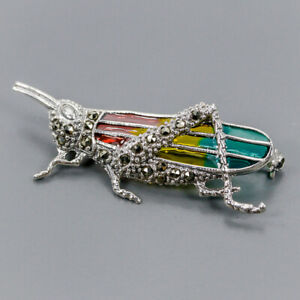 Marcasite Brooch Silver 925 Sterling Fashion jewelry Design /NB09502