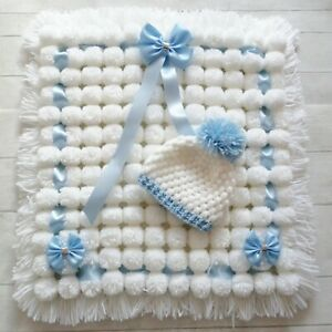 Luxurious Pom Pom Blanket In White and Blue Mix Blanket Baby Boy Set with Hat