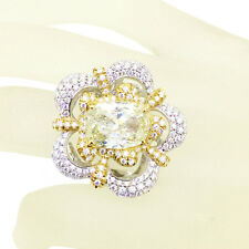 CUSHION FANCY LIGHT YELLOW WHITE DIAMONDS TCW5.47 FLOWER RING 18k white gold