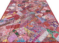Indian Quilt Patchwork Burgundy King Bed Cover Vintage Patches India Handmade T6