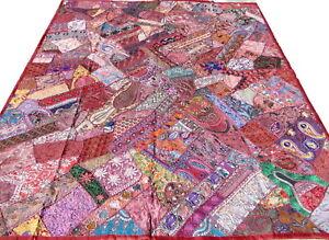 Quilt Patchwork Burgundy King Indian Handmade Bed Cover Floral Paisley Boho J2