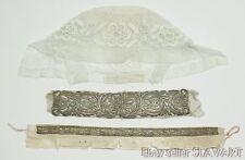 ANTIQUE Slovak folk costume bonnet wedding cap metallic embroidery collar TRNAVA
