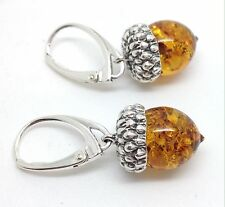 Amber acorn Drop Earrings, Solid Sterling Silver, New, Lever fitting, UK Seller.