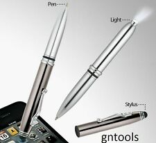 3-1 function Pen LED Flashlight Touch Screen Stylus Gunmetal Suit Ipad Iphone