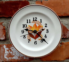 "Harker Bakerite Orange Tulip Pattern Small  6 1/4"" Diameter Custom Plate Clock"