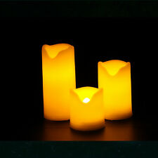 3 Mini Plastic Flameless Candles, LED Pillar Candles, Votive Candles with Timer