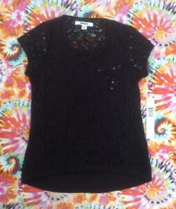 NWT Girl's DKNY Black Short Sleeve Shirt with Sequins, Lace, and Pocket Size Med