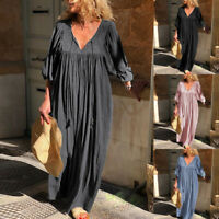 ZANZEA Women Long Lantern Sleeve Long Mazi Dress Full Length Shirt Dress Plus