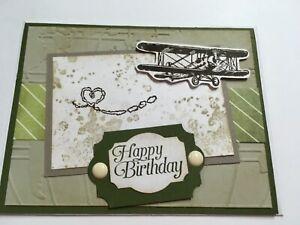 Stampin Up Handmade Greeting Birthday Card Airplane