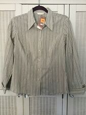 Marks and Spencer Alabaster Striped Blouse Shirt Cotton BNWT £25 RRP Size 10