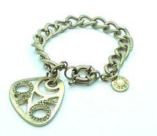 "J CREW Womens Green Rhinestone Gold Tone 7"" Chain Link Bracelet"