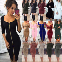 Women Long Sleeve Fitness Bodycon Mini Short Pencil Dress Evening Party Clubwear