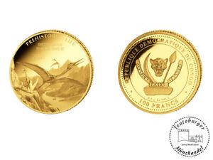 Kongo 100 Francs 2021 Prehistoric Life (6.) Quetzalcoatlus 0,5 Gramm Gold Proof