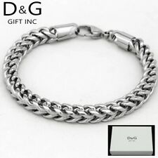 "Dg Men's 8.5"" Silver Stainless-Steel 5mm Franco Chain Bracelet Unisex.Box"