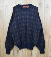 VINTAGE MENS HASTINGS PURE WOOL KNIT JUMPER SIZE XL MULTI CREW NORDIC CLASSIC
