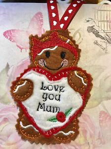 Handmade  Christmas Birthday Hanging Decoration Felt Gingerbread Mother's Day