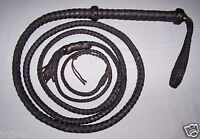 14 foot  8 plait TARGET BULL WHIP-BLACK LEATHER (real bullwhip)