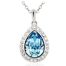 New Silver Pendant Aqua Blue Drop-shaped Crystal from Swarovski Chain Jewelry