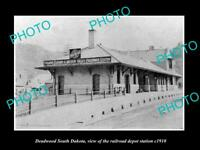 OLD LARGE HISTORIC PHOTO OF DEADWOOD SOUTH DAKOTA, RAILROAD DEPOT STATION c1910