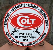 VINTAGE PORCELAIN COLT FIREARMS ADVERTISING SIGN