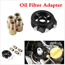 Black Aluminum Car Engine 3Port Oil Filter Sandwich Adapter Plate Adapter Sensor