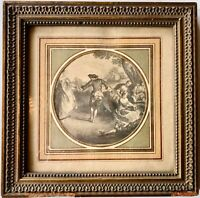 Framed French Late 1800s Engraving of a Romantic Scene in a Garden
