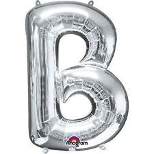 """Lettera B argento Foil Balloon 16"""" 40cm Aria Riempire Nome Età Compleanno Anniversario"""