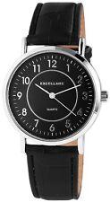 Herren Armbanduhr Schwarz/Silber Kunstlederarmband von Excellanc