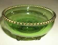 Antique Green Colorado Glass Footed Bowl