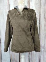 Womens The North Face Brown Fluffy Teddy Bear Quarter Zip Fleece Jumper Small