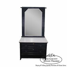 Antique 19th Century Ebonized Faux Bamboo Marble Top Dresser w/ Mirror