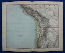 Original antique map SOUTH AMERICA, PERU, CHILE, BOLIVIA, Stieler, 1891