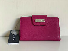 NEW! NAUTICA CLOSE REACH TAB INDEXER PINK SOFT PEBBLE LEATHER WALLET W/ RFID $35