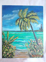 Original Acrylic Painting 8 x10 Canvas Panel, Tropical Beach Hide Away